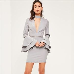 Missguided Crepe Ladder Detail Sleeve Dress